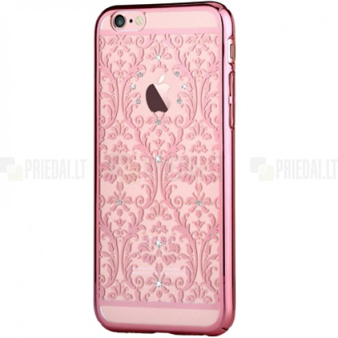 Apple iPhone 6 (6s) Devia Crystal Baroque Swarovski plastikinis skaidrus permatomas rožinis dėklas