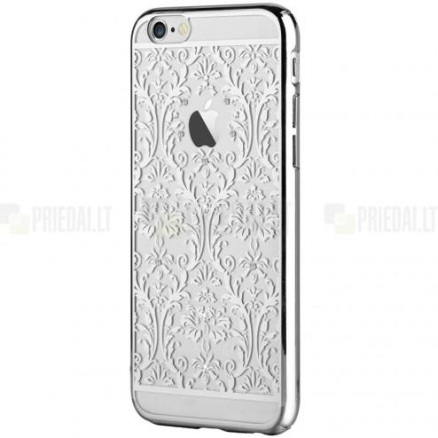 Apple iPhone 6s Plus Devia Crystal Baroque Swarovski plastikinis skaidrus permatomas sidabrinis dėklas su kristalais