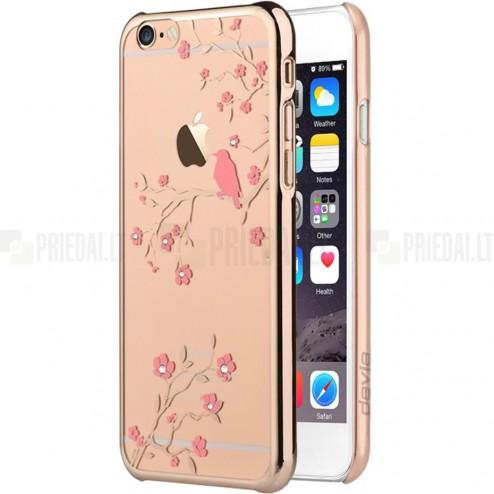 Apple iPhone 6 (6s) Devia Crystal Magpie Swarovski plastikinis skaidrus permatomas auksinis dėklas su kristalais
