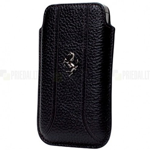 """Ferrari"" juoda odinė įmautė telefonui (L dydis - Apple iPhone 6)"