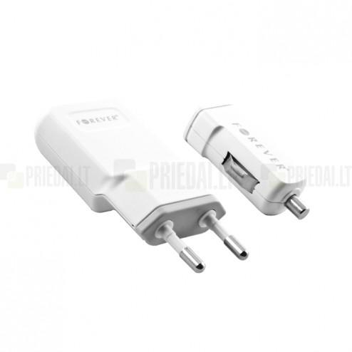 """""""Forever"""" baltas įkroviklių komplektas su micro USB laidu (1100 mA)"""