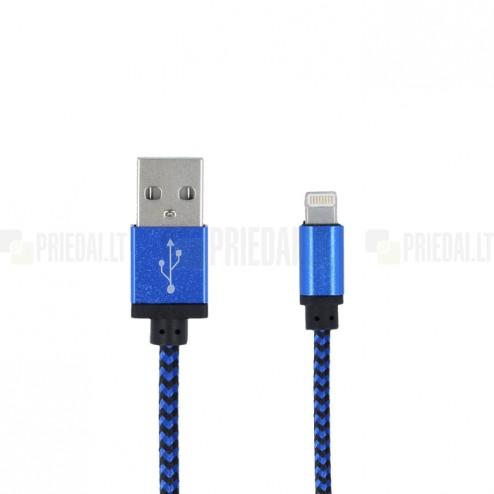 Forever Nylon Lightning USB 8PIN mėlynas laidas skirtas iPhone, iPad (MFi sertifikatas)
