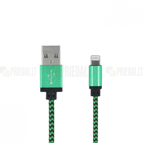 Forever Nylon Lightning USB 8PIN žalias laidas skirtas iPhone, iPad (MFi sertifikatas)