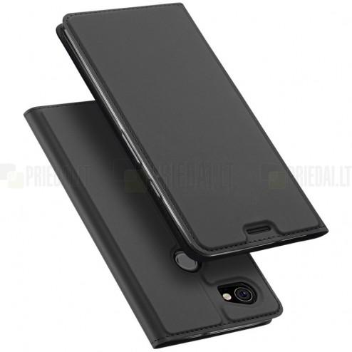 """""""Dux Ducis"""" Skin serijos Google Pixel 2 XL juodas odinis atverčiamas dėklas"""