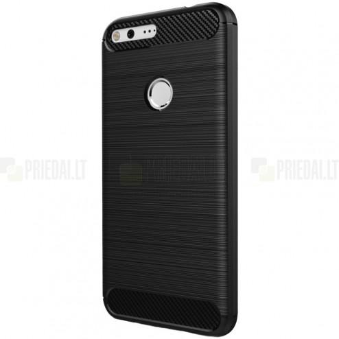 """Google Pixel XL """"Carbon"""" kieto silikono TPU juodas dėklas - nugarėlė"""