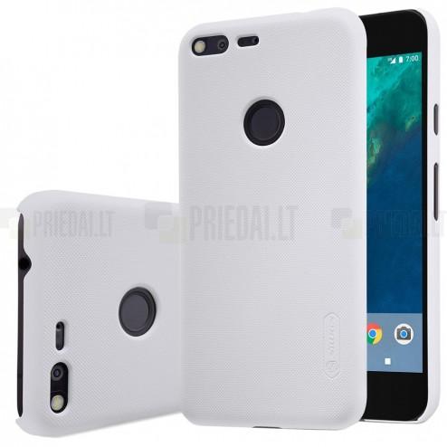 Nillkin Frosted Shield Google Pixel XL baltas plastikinis dėklas + apsauginė ekrano plėvelė