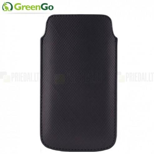 """""""GreenGo"""" Duo Card juoda odinė įmautė - dėklas (L+ dydis)"""