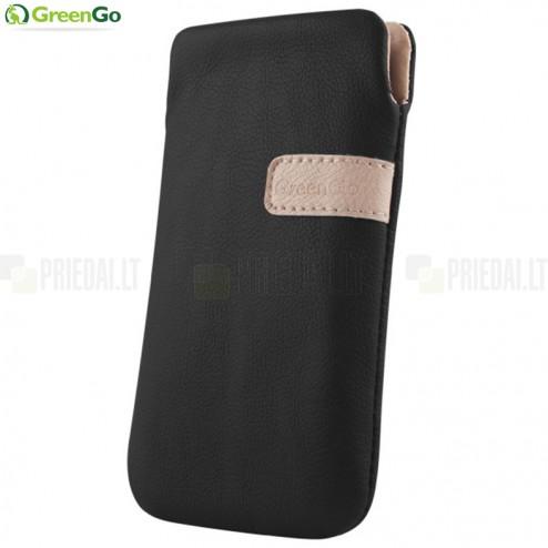 """""""GreenGo"""" Fiesta juoda odinė Apple iPhone SE (5, 5s) įmautė - įdėklas"""
