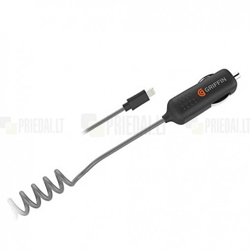 """Griffin"" PowerJolt SE automobilinis įkroviklis su lightning USB laidu - juodas (2400 mA)"