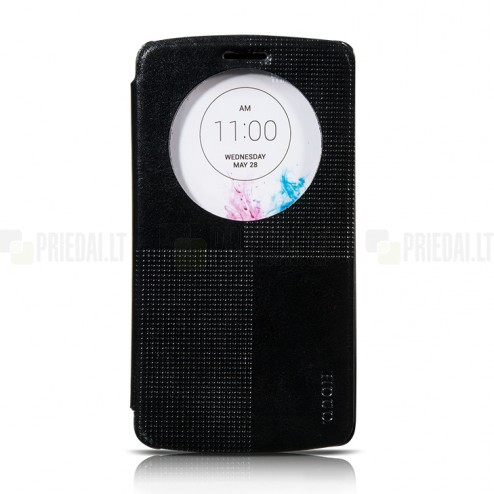 Hoco Retro LG G3 juodas atverčiamas odinis dėklas