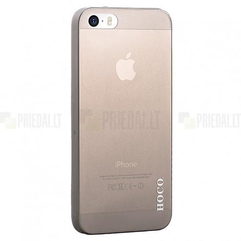 Hoco Thin Apple iPhone SE (5, 5s) juodas skaidrus plastikinis plonas dėklas