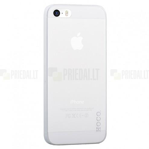Hoco Thin Apple iPhone SE (5, 5s) baltas skaidrus plastikinis plonas dėklas