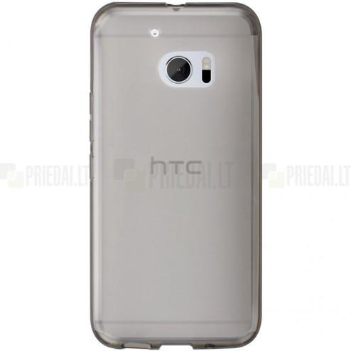 HTC 10 (M10 Lifestyle) skaidrus (permatomas) kieto silikono TPU ploniausias pasaulyje pilkas dėklas