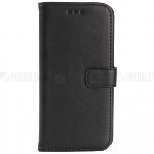 HTC 10 (Lifestyle) atverčiamas juodas odinis retro dėklas - piniginė