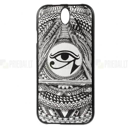 HTC Desire 610 spalvotas kieto silikono TPU dėklas (nugarėlė) - Horo akis