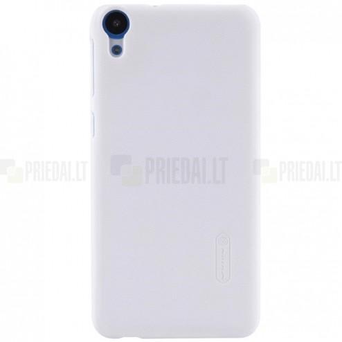 HTC Desire 820 Nillkin Frosted Shield baltas plastikinis dėklas + apsauginė ekrano plėvelė