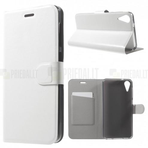 HTC Desire 825 atverčiamas baltas odinis dėklas - piniginė