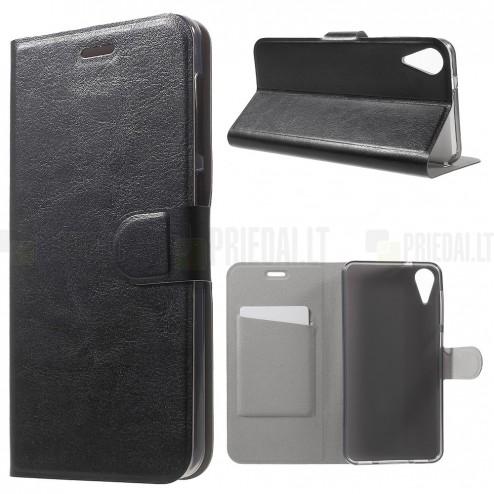 HTC Desire 825 atverčiamas juodas odinis dėklas - piniginė