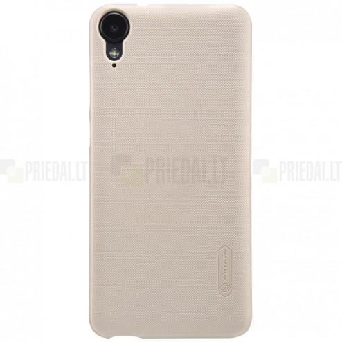 HTC Desire 825 Nillkin Frosted Shield auksinis plastikinis dėklas + apsauginė ekrano plėvelė