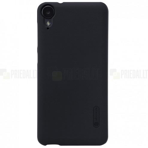 HTC Desire 825 Nillkin Frosted Shield juodas plastikinis dėklas + apsauginė ekrano plėvelė