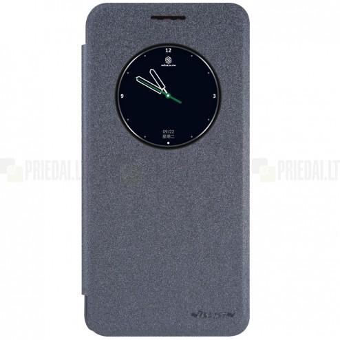 HTC Desire 825 pilkas odinis atverčiamas Nillkin Sparkle dėklas - knygutė