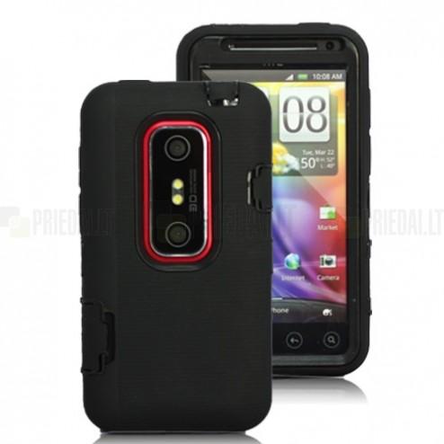 Dvigubas HTC Evo 3D juodas dėklas
