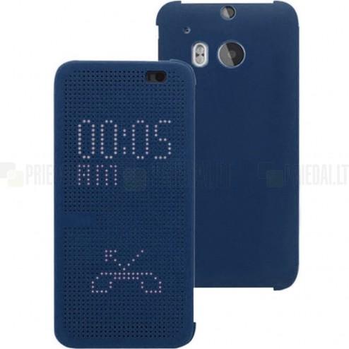 HTC One M8 (HTC One M8s) Smart Dot View atverčiamas mėlynas dėklas - knygutė