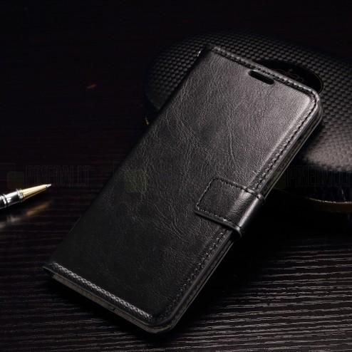 HTC One A9 atverčiamas juodas odinis dėklas - piniginė