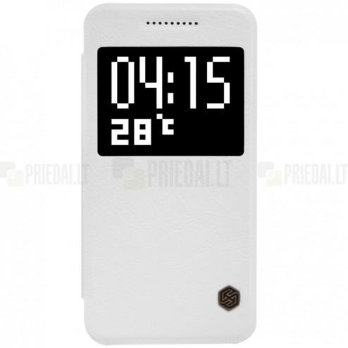 """Prabangus """"Nillkin"""" Qin serijos baltas odinis atverčiamas HTC One A9 dėklas"""