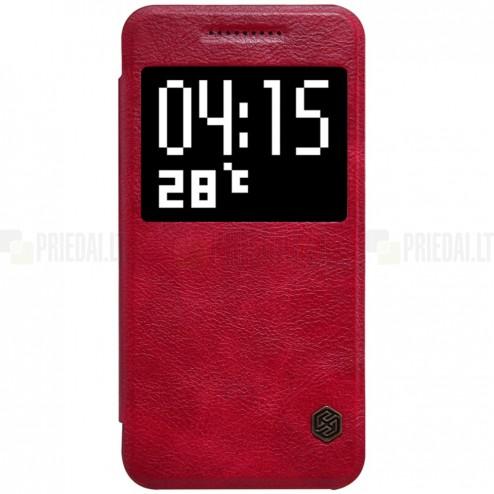 """Prabangus """"Nillkin"""" Qin serijos raudonas odinis atverčiamas HTC One A9 dėklas"""