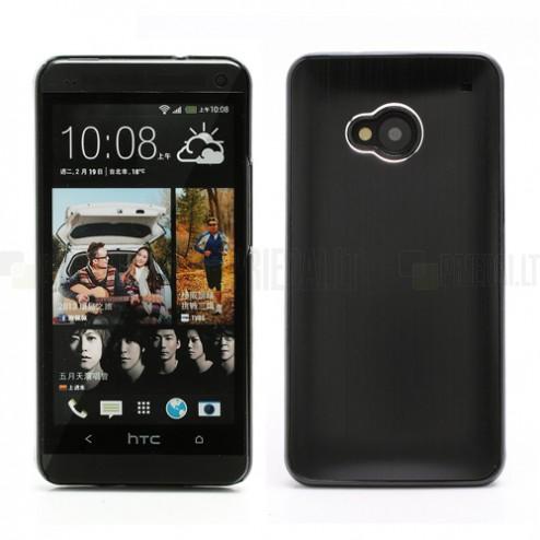 Šlifuoto metalo HTC One M7 juodas dėklas