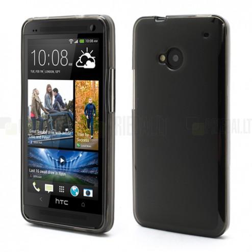 Tamsintas silikoninis HTC One M7 skaidrus dėklas