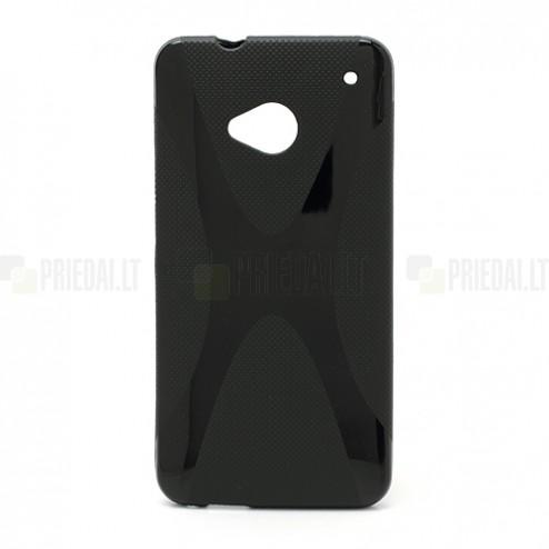Silikoninis HTC One M7 juodas dėklas