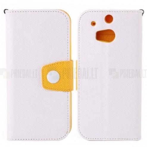 Color atverčiamas HTC One M8 baltas, geltonas odinis dėklas - piniginė