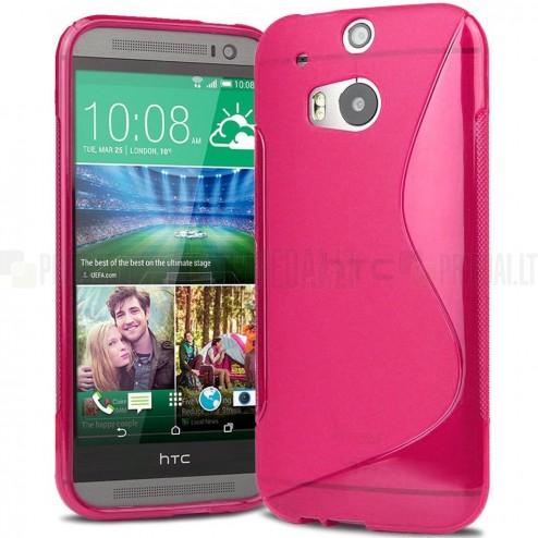 HTC One M8 dėklas (kieto silikono - TPU, skaidrus, rožinis)
