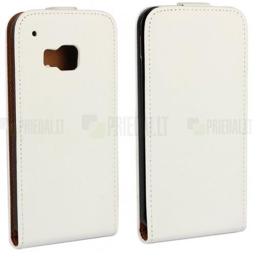 HTC One M9 klasikinis vertikaliai atverčiamas baltas odinis dėklas