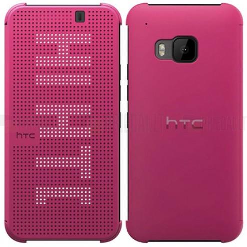 Originalus HTC One M9 Dot View Premium (M231) rožinis atverčiamas dėklas