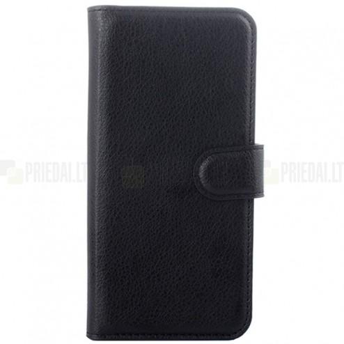 HTC One M9 atverčiamas juodas odinis Litchi dėklas - piniginė