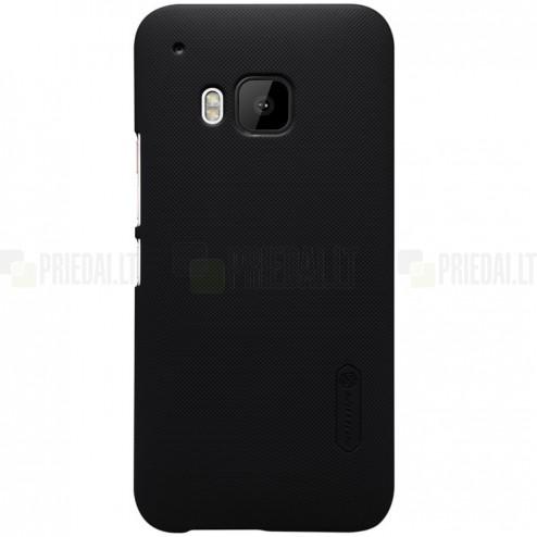 HTC One M9 Nillkin Frosted Shield juodas plastikinis dėklas + apsauginė ekrano plėvelė