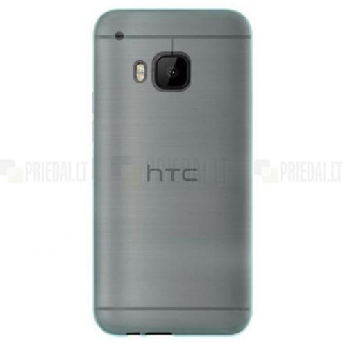 HTC One M9 skaidrus (permatomas) kieto silikono TPU ploniausias pasaulyje žalias dėklas