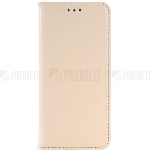 HTC One M9 solidus atverčiamas smėlio (dramblio kaulo) spalvos odinis dėklas - knygutė