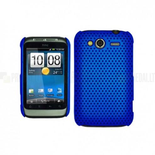 HTC Wildfire S mėlynas tinklelio formos dėklas
