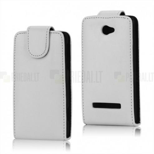 Atverčiamas HTC Windows Phone 8S baltas odinis dėklas