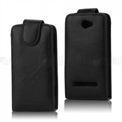 Atverčiamas HTC Windows Phone 8S juodas odinis dėklas