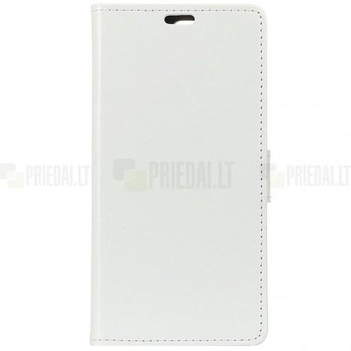 Huawei Y7 2019 (Y7 Prime 2019) atverčiamas baltas odinis dėklas, knygutė - piniginė