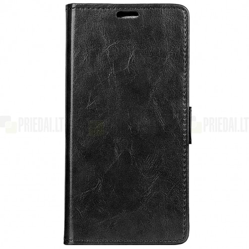 Huawei Y7 2019 (Y7 Prime 2019) atverčiamas juodas odinis dėklas, knygutė - piniginė