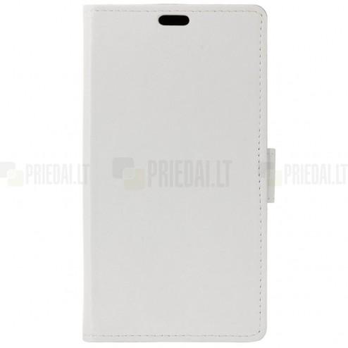 Huawei Honor 5c ir Huawei Honor 7 Lite atverčiamas baltas odinis dėklas, knygutė - piniginė