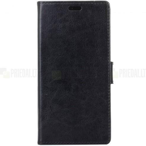 Huawei Honor 9 (Honor 9 Premium) atverčiamas juodas odinis dėklas, knygutė - piniginė