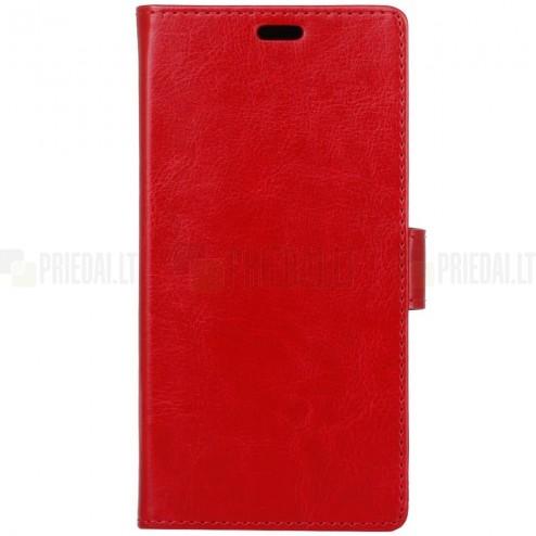 Huawei Honor 9 (Honor 9 Premium) atverčiamas raudonas odinis dėklas, knygutė - piniginė