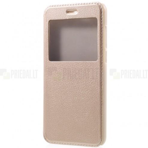 """Huawei Honor 9 (Honor 9 Premium) auksinis odinis atverčiamas """"View Window"""" dėklas su langeliu"""
